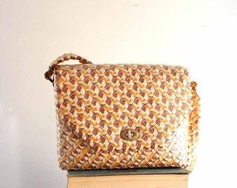 vintage camel wrapper purse - prison art / folk art purse made from woven cigarette packs / cross body bag / tramp art bag