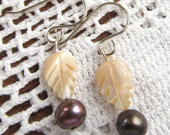 Sterling Dangle Earrings of Iris Brown Freshwater Pearls and Carved Mother of Pearl Leaves