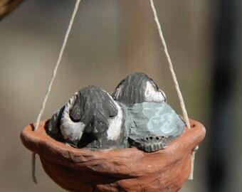 sleeping baby chickadee ornament