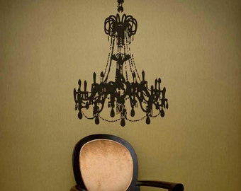Grunge Chandelier Vinyl Decal size SMALL - Chandelier wall décor, Home décor, Office Decal, Romantic Bedroom décor