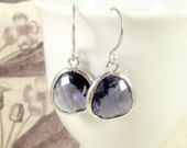 Tanzanite Earrings : Silver, Dark Violet Petals, Crystal Dangle Earrings