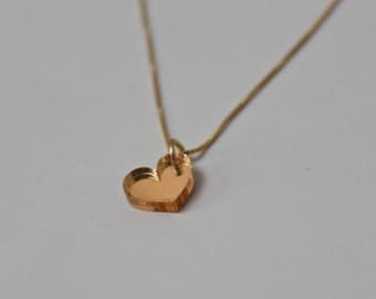 Gold Heart Necklace - Tiny Heart Pendant on a Gold Filled Chain - Sweet Heart - Mirrored Gold Necklace - Small Heart Pendant - Small Gold