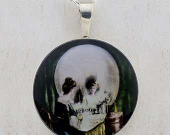 All Is Vanity Skull sterling pendant