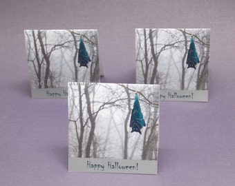 6 Bat Halloween Note Cards, approx 3 by 3 inch Blank Notecards, Tent Greeting Cards, stained glass bat & foggy woods, Spooky GoTo Avatar 3x3