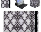 Black & White Damask on Purple - iPad Kindle Samsung Galaxy Tab Flip Case Cover in Book Style with Hard Shell