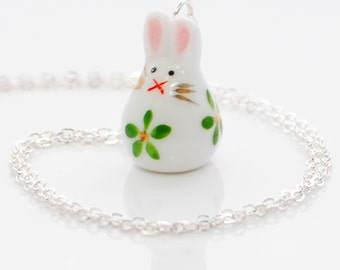 White Rabbit Pendant Necklace Kiss from the Green Bunny - Rabbit Jewelry - Bunny Necklace