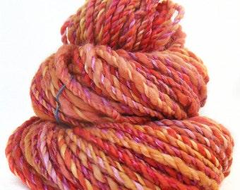Handspun Yarn handdyed Merino wool tencel & silk