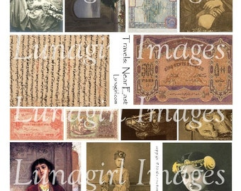 Travels NEAR EAST digital collage sheet vintage images bellydancers exotic women photos arabic altered art ephemera printables DOWNLOAD