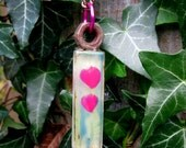 Repurposed Tile Pendant Necklace - Grunge Green with Pink