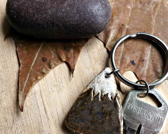 Stoneware Mountain Key Chain, Made to Order