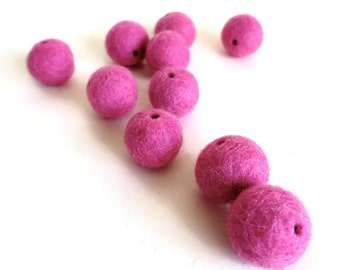 rose pink felt beads with holes - 10 pack - handmade natural wool felt ball pom pom, 3 sizes. great kids craft