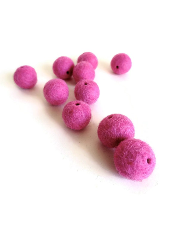rose pink felt beads