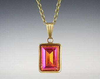 Rhinestone Necklace Astral Pink Swarovski Pink Orange Coral Wedding Jewelry Bridesmaid Necklace