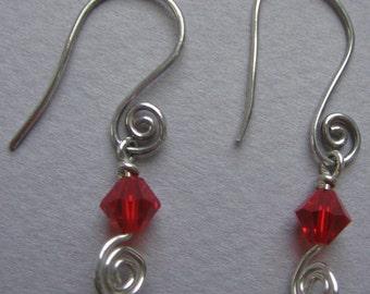 Sterling Silver & Swarovski Wire Wrapped Earrings