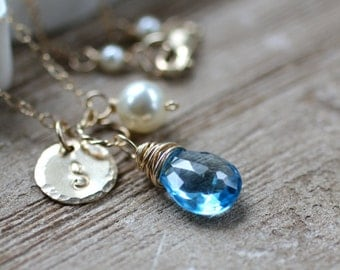 December Birthstone Necklace, Blue Topaz Necklace, December Birthday Gift, Swiss Blue Topaz, Personalized Gift, Gold Initial, New MOM Gift