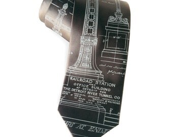 Detroit Train Station necktie. Michigan Central Station tie, Ironwork detail. Men's 100% silk tie. Silkscreened blueprint, pale gray print.