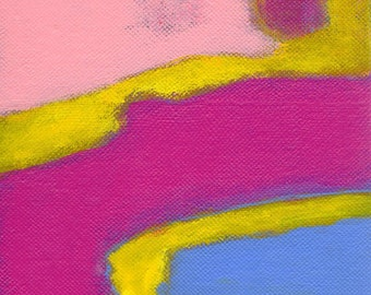 SALE Pink Yellow Fuchsia Purple Painting Abstract Wall Decor - Untitled