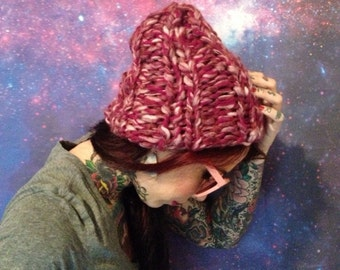 Chunky Raspberry Multi Color Beanie - Recycled Wool Handknit Handmade Slouchy Baggy Beret - Rib Knit Ribbed Magenta Fuchsia Pink Cap Hat