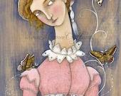 """Regency girl art print, """"The Winged Spring"""""""
