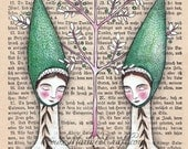 "Folk acorn girls art print, ""Our Oak Tree"""