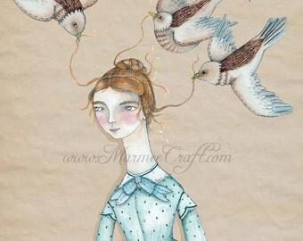 "Victorian girl and birds art print, ""Bird's Nest"""