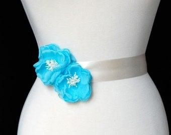 Wedding Hair Flowers, Sash Flowers, Bridesmaid Hair Clips - Sash Accessories In Aqua Chiffon