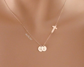 TWO Rose Gold Initials Charm and Sideways Cross Necklace, Pink Cross Monogram Necklace, Personalized Cross Jewelry, Child Mother Necklace