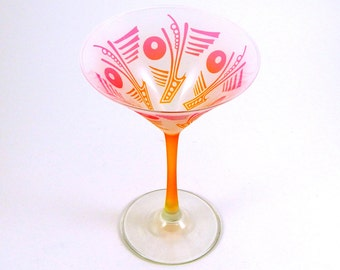 Art Deco Olives - Martini Glass - Frosted Style - Etched and Painted Glassware - Custom Made to Order