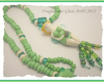 Lampwork Fairy Necklace, Green Ivory Transparent Teal Artisan Handmade SRA LETEAM Glassymom