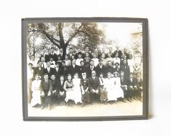 Antique School Photo, Vintage Cabinet Card, Large Group Class Picture or Family Reunion