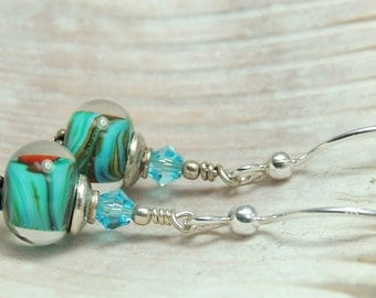 AQUARIUS Handmade Lampwork Bead Dangle Earrings