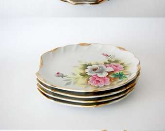 Vintage China Plates Handpainted Floral / Norcrest Fine China / Pink Dove Grey Green Yellow / Set of 4 / Lux Decor Scalloped Gold Trim