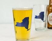 NEW YORK pint glass navy BLUE screen printed beer glasses