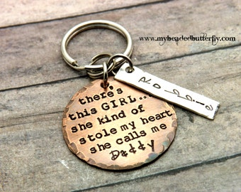 daddy key chain-daddy key chain-father's day-so there's this girl she kind of stole my heart she calls me daddy- key chain