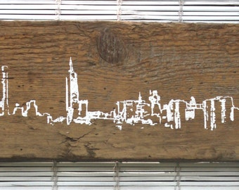 "New York Skyline Wall Hanging on Reclaimed Barn Wood - 7""x15"""