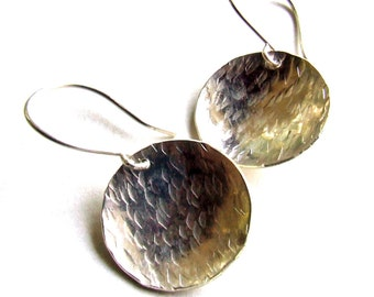 Sterling Silver Dangly Disc Earrings - 3/4 inch Concave Pools with Hammered Texture Finish - Fine Metal Rustic Artisan Jewelry