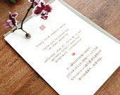 Double Happiness English & Chinese Bilingual Wedding Invitations - Recycled Paper - Sample