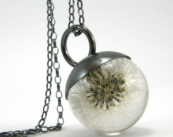 Magic Dandelion Necklace, Dandelion Pendant, Sterling Silver Blowball Necklace with Oxidised Silver Cap, Resin Jewelry, Resin Sphere