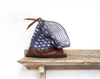 Ikat leather clutch, Leather bag, Stripe zippered pouch, Travel bag, Brown leather clutch, Indigo clutch, Tribal print clutch, Boho handbag
