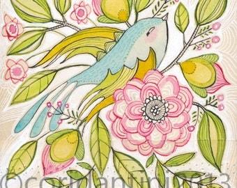 watercolor, folk,  bird art - blue bird - painting - illustration - 8 x 8 inches - archival, limited edition print by cori dantini