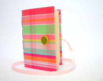 Lined journal notebook, Handmade journal, pink journal green journal, Colorful journal notebook diary, writing journal, stripes journal