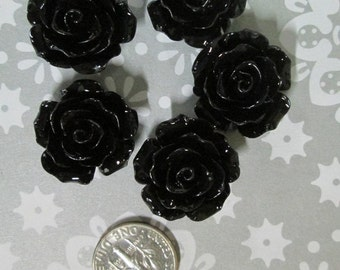 10 black 20mm rose cabochons, beautiful flower resin cabs