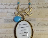 Jane Austen Necklace. Quote Necklace. Jane Austen Quote Necklace.- Sense and Sensibility If I Could But Know His Heart Prose Necklace