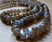 AA-AAA Beautiful Labradorite Smooth Rondelles with Flash - 10mm - 4 Beads