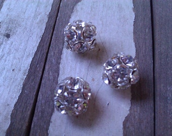Swarovski Crystal Rhinestone Beadball. 10 mm. Sterling Silver Plate.