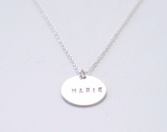 Personalized Engraved Silver Coin necklace - custom hand stamped necklace - round charm necklace - circle pendant necklace - women mom gift
