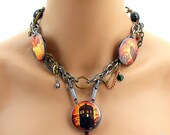 London Tardis Steampunk Buttons Choker Chain Necklace
