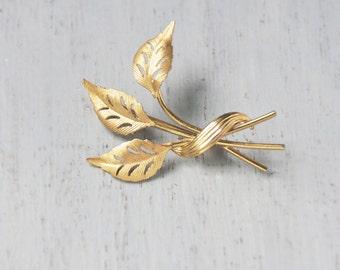 SALE! Vintage Leaf Trio Brooch - delicate gold filled leaves pin - marked CRCO 12K GF
