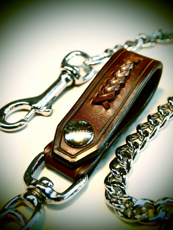 Leather Wallet chain Brown American bridle leather and braided calf lace Applique made for YOU in NYC by Freddie Matara!