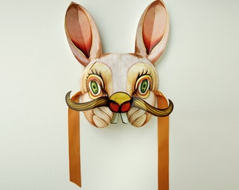 PDF Bunny Mask Masquerade Download. DIY - Great Paper Pop Up Project. Pop Up Animal Mask.